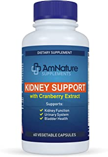 AmNature Kidney Support with Bladder Health & Urinary Tract System, Cranberry Extract Blend 20 Herbs & Nutrients Formula S...