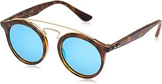 RB4256 Round Sunglasses, Matte Havana/Light Green Mirror Blue, 49 mm