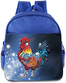 DiadsJun Cute Rooster Boys Girls Cute School Backpacks RoyalBlue