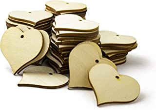 Bastex Wood Heart Shape 2 inch Slices 100 Pieces. Blank Wooden Tags with Holes. Great for DIY Wedding Décor, Wood Burning, Making Ornaments. 47mm Heart Shaped Craft Wood Name Tags.