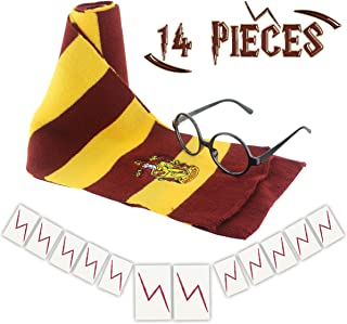 GeeVen Novelty Scarf Wizard Glasses with Round Frame No Lenses 12 PCs Lightning Bolt Tattoos for Kids Christmas Birthday Party Cosplay Costume Accessories