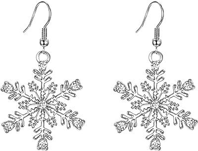 EVER FAITH Orecchini Donna Inverno Festa Fiocco di neve Orecchini Gancio Pendente Trasparente Argento-fondo