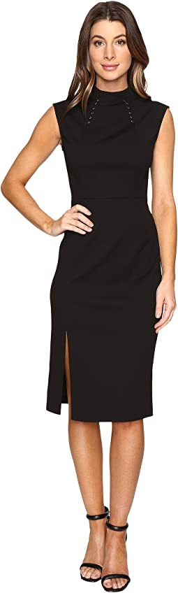 Midi Length Scuba Crepe Dress with Hardware