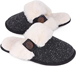 HomeTop Women's Cute Fuzzy Knitted Memory Foam Indoor House Slippers for Families Couples