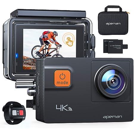 APEMAN Action Cam A87, Touch Screen 4K/60FPS 20MP WiFi Telecomando Impermeabile 40M 8XZoom Fotocamera Subacquea, Gyro Stabilizzazione Correzione della Distorsione Videocamera, Custodia per Trasporto