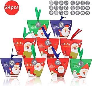 FORMIZON 24 Cajas de Regalo Navidad, Bolsa para Calendario de Adviento, Navidad Bolsas de Regalo con 24 Pegatinas para Navidad, Fiesta DIY Calendarios Adviento