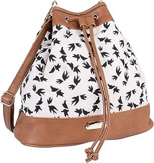 SIX Damen Handtasche, Shopper zum umhängen in beige mit schwarzem Vogelprint, Knotenverschluss mit goldenen Details (726-736)