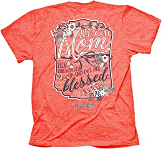 Women's T-Shirt Blessed Mom Retro Heather Coral