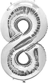 Number 8 Foil Silver Balloon for 8th Birthday Decorations - Large, 40 inch | Number 8 Balloons for Birthday Party Supplies...