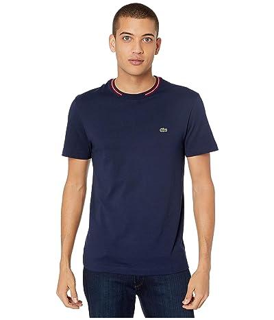 Lacoste Short Sleeve Supple Jersey Semi-Fancy T-Shirt Regular (Navy Blue) Men