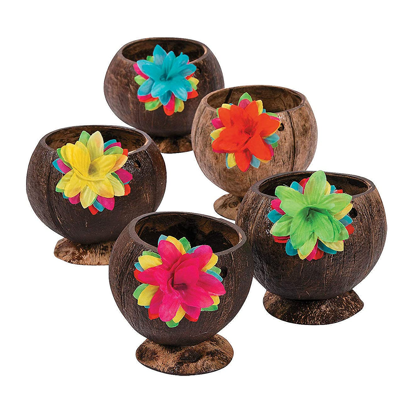 Fun Express - Coconut Cup W/flowers - Party Supplies - Drinkware - Re - Usable Cups - 12 Pieces