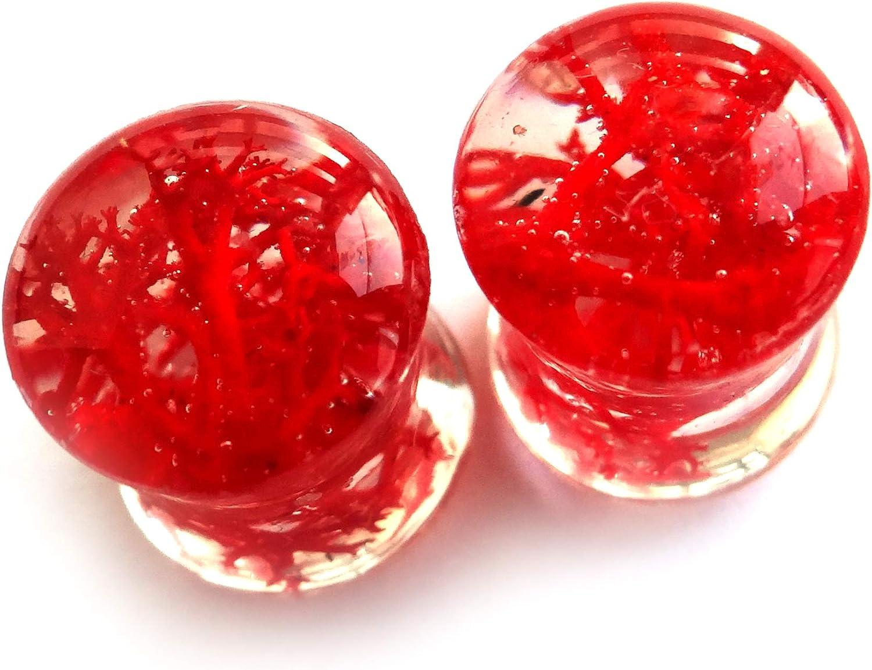 ETERNIADA Real Red Moss gauges Plugs and Tunnels Earrings Wedding Earrings Gothic Jewelry Resin Plugs Lichen Halloween Earrings Piercing Body Jewelry Tunnels