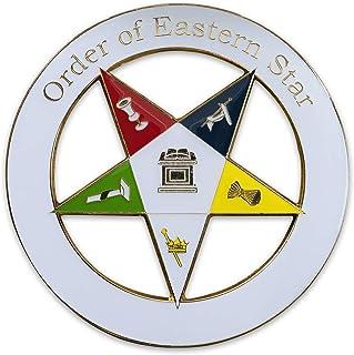 "Simple Order of the Eastern Star White Round Masonic Auto Emblem - 3"" Diameter"