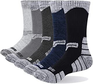 YUEDGE Men's Wicking Cushion Crew Socks Performance Athletic Hiking Sports Socks