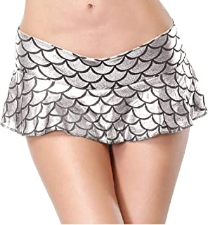 Cloe Valentine Women's Shiny Metallic Wet Look Hot Fitted Flared Mini Fish Scale Skirt - Silver