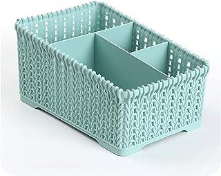 Paniers à linge Panier de rangement en plastique de bureau non couvert à l'imitation de rattan quatre treillis de stockage...