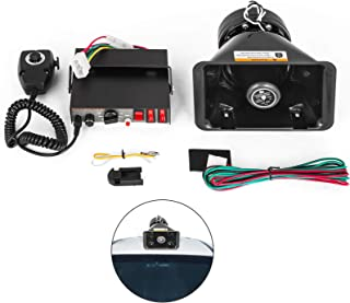 Mophorn 200W Car Warning Alarm Vehicle 7 Sound Loud Warning Alarm Kit MIC System Emergency Fire Siren PA Speaker
