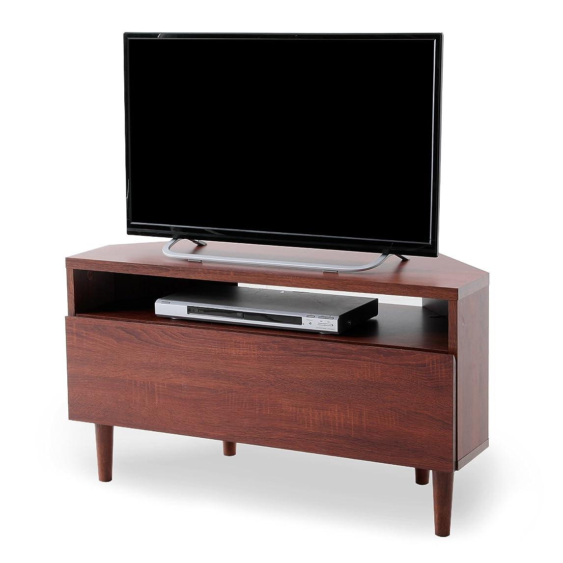 するだろう等々電気のLOWYA テレビ台 コーナーテレビ台 一人暮らし 木目調 天然木脚 配線スムーズ 32型 対応 32インチ テレビボード ロータイプ コンパクト ブラウン