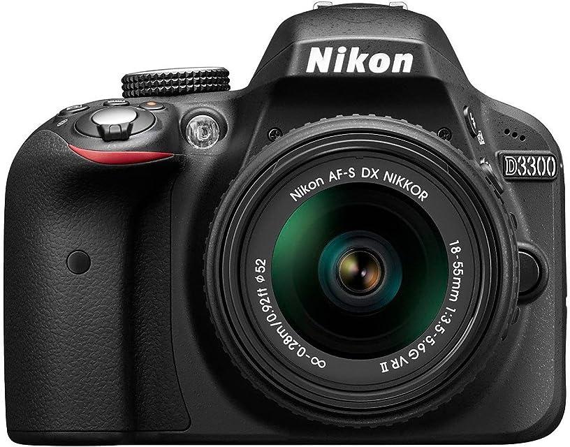 Nikon D3300 - Cámara réflex digital de 24.2 Mp (Pantalla 3 pulgadas estabilizador óptico vídeo Full HD) negro - kit cuerpo con objetivo Nikkor AF-S DX 18-55 mm f:3.5 VR II (Reacondicionado)