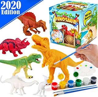 FunzBo Kids Crafts and Arts Set Painting Kit - Dinosaurs Toys Art and Craft Supplies Party Favors for Boys Girls Age 4 5 6 7 Years Old Kid Creativity DIY Gift Easter Paint Your Own Dinosaur Animal Set
