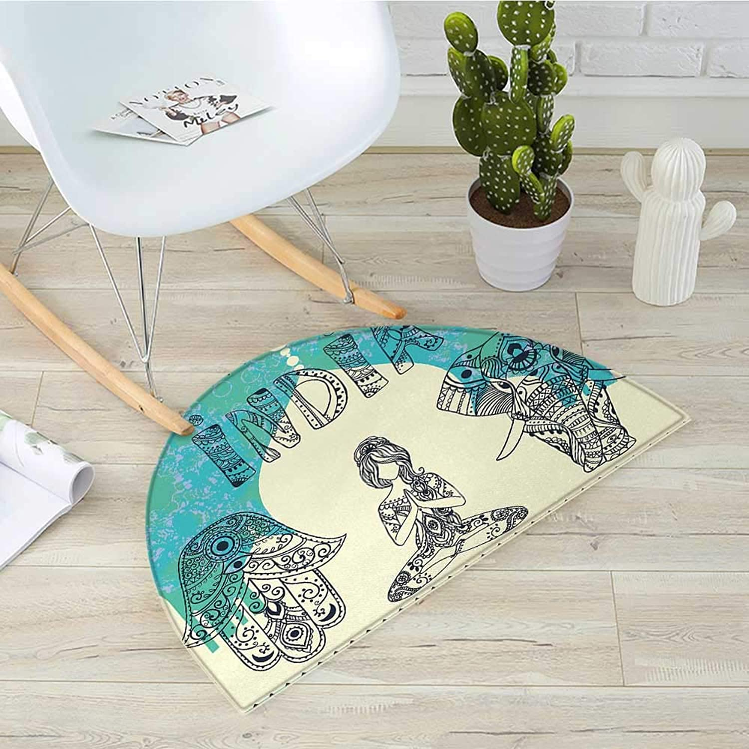 Yoga Semicircle Doormat Ethnic Elephant Hamsa Hand Woman Doing Yoga Ornaments Taj Mahal Silhouette Halfmoon doormats H 39.3  xD 59  Jade Green Cream Black