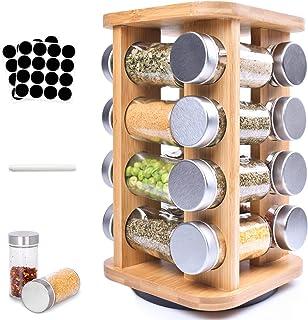 Frasheng Présentoir à Épices,Carrousel à épices avec 16 pots à épices,Organiseur Rotatif,rotatif à 360 °,Économiser de l'e...