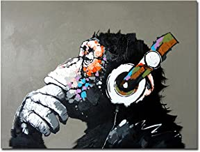 Muzagroo Art Painted by Hand Oil Paintings Listen to Music Gorilla Canvas Pictures Large Canvas Art for Living Room Wall D...