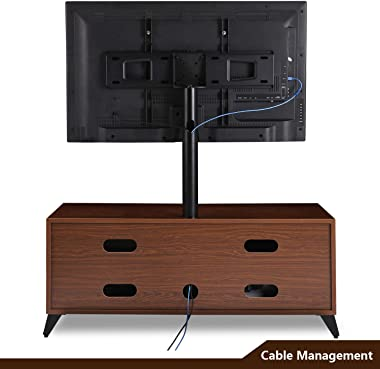 Wood Media TV Stand Storage Console with Swivel Mount Height Adjustable Entertainment Center for 32 42 50 55 60 65 inch Plasma LCD LED Flat or Curved Screen TV Shelf Storage Cabinet,Walnut
