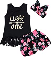 Truly One 3PCS Outfit Short Set Baby Girls Floral Tops + Pants + Headband
