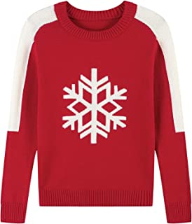 Adory Sweety Warm Sweater for Kids Baby Boy Toddler Cute Crew Neck Jacquard with Snow Flake Long Sleeve Pullover for Chrismas