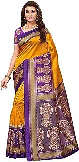 RR Crafts&Creations Women Fashion Saree,Traditional Saree,Party wear Mysore Art Silk Blended Saree Yellow