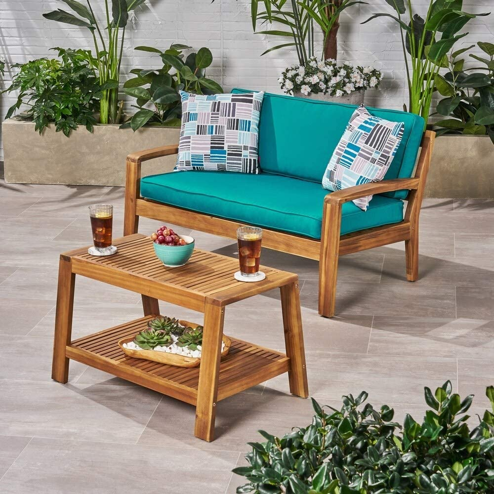 Christopher Knight Phoenix Mall Home Grenada Acacia Lovesea Cushioned Now free shipping Outdoor