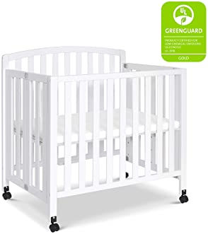DaVinci Dylan Folding Portable 3-in-1 Mini Crib and Twin Bed in White Greenguard Gold Certified