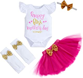 Baby Girl Happy First Mother's Day Outfits Ruffle Sleeve Romper+Tutu Skirt+Headband Leg Warmers Clothes Set