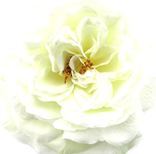 Full 5.5 White Rose Silk Flower Brooch Pin with Locking Bale