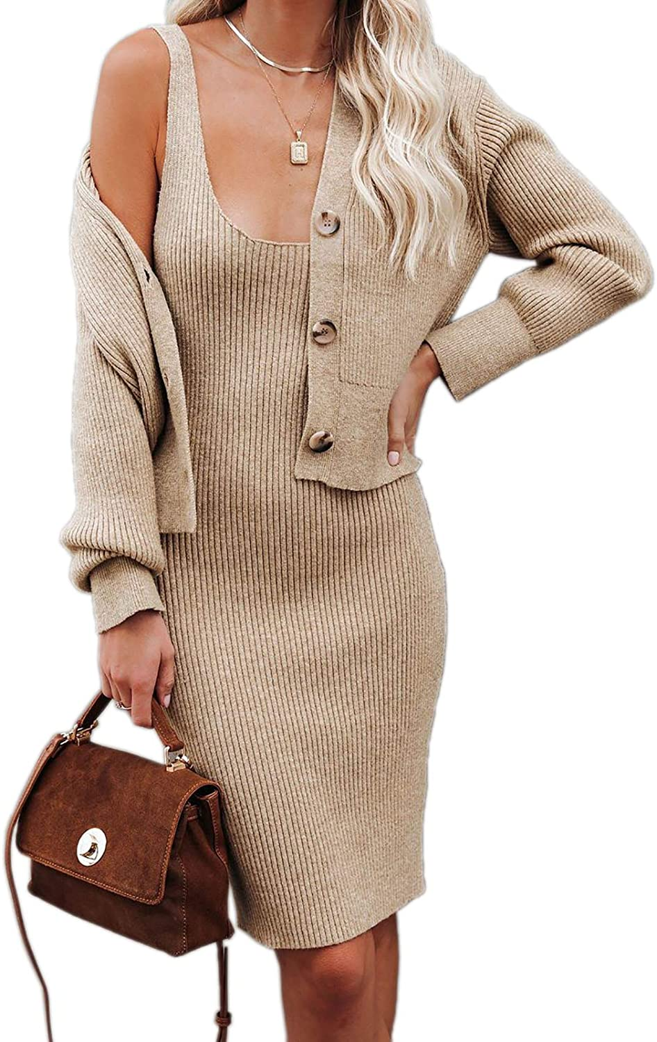 Womens Sexy Scoop Neck Sleeveless Bodycon Dress and Sweater Cardigan Ribbed Knit 2 Piece Sweater Set Outfits