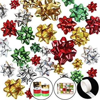 ZJHAI 52pcs Christmas Wrap Bows Self Adhesive Metallic Gift Bows with 2pcs Gift Tag Stickers and 8 Rolls Curling Ribbons for Wine Bottles Decoration, Presents Wrapping(2