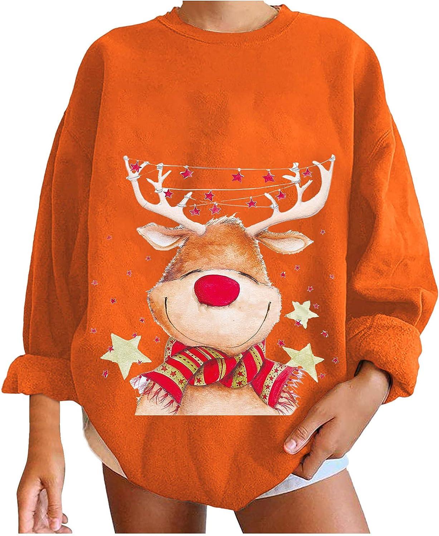 Hemlock Women Classic Oversize Max 44% OFF Sweatshirts Xmas Print Claus P Santa Tops