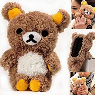 Fusicase for iPhone XR Case Fashion Style New Cute 3D Lovely Teddy Bear Doll Toy Cool Plush Fitted Back Phone Case Fur Hair Plush Cover for iPhone XR + Pen Brown