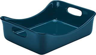 Rachael Ray Solid Glaze Ceramics Bakeware / Lasagna Pan / Baker, Rectangle - 9 Inch x 12 Inch, Marine Blue