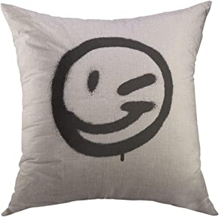 Mugod Decorative Throw Pillow Cover for Couch Sofa,Spray Graffiti Emoticon Wink Face Sprayed in Black on White Paint Home Decor Pillow Case 18x18 Inch