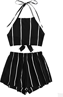 Women's 2 Piece Outfits Halter Sleeveless Crop Cami Top with Shorts