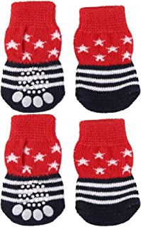 Blesiya 8 Pieces Red Black Star and Stripes Pattern Pet Dog Knitted Non-slip Socks Prevent Scratching for Puppy and Cats M