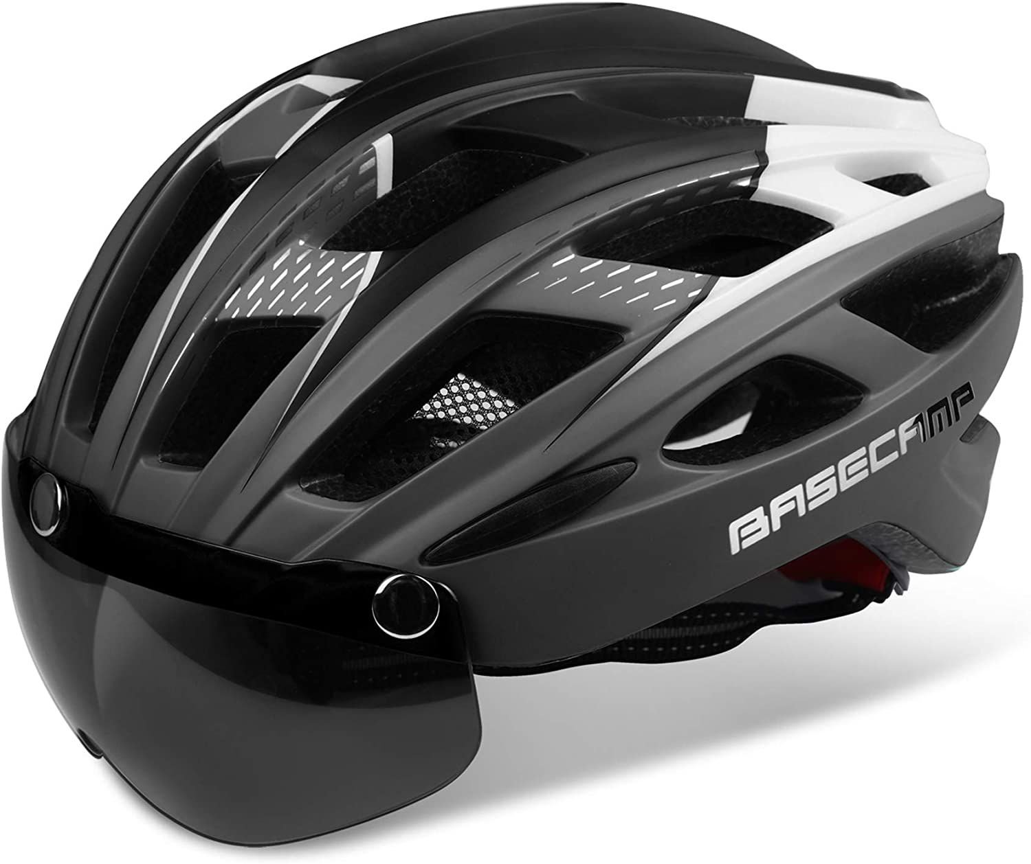 Bike Helmet, Basecamp Bicycle Helmet Cycling/Climbing Helmet with Detachable Magnetic Goggles Visor&Led Back Light&Portable Backpack Adjustable for Men Women Mountain Road Bc-069 : Sports & Outdoors