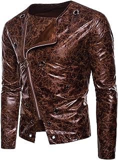 Giacca da Uomo Cappotto di Transizione Giacce di Pelle Motociclista Vera Pelle Similpelle Look Vintage Girocollo Slim Fit ...