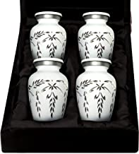 White Keepsake Cremation Urns - Small White Urns Set of 4 for Human Ashes - Premium Velvet Box & Bags Included - Honor You...