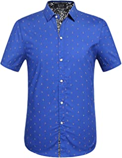 SSLR قمصان رجالي كاجوال بأزرار سفلية مقاس عادي 100% قطن مطبوع بأكمام قصيرة للرجال
