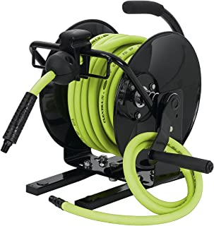 Flexzilla Portable Manual Open Face Air Hose Reel, 3/8 in. x 50 ft, Heavy Duty, Lightweight, Hybrid, ZillaGreen - L8651FZ