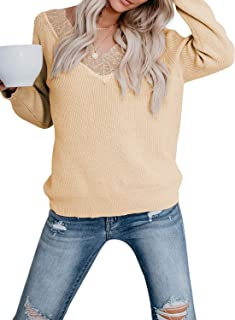 Womens Casual V Neck Lace Patchwork Long Sleeve Solid Color Pullover Sweater Tops S-XL