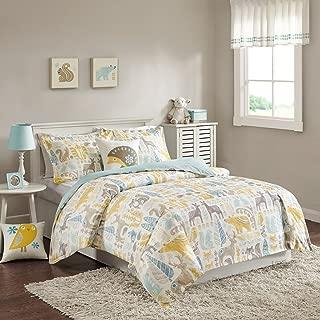 INK+IVY Kids Woodland Twin Kids Bedding Sets - Yellow Aqua, Animal – 3 Pieces Kids Comforter Set – Cotton Childrens Bedroom Bed Comforters
